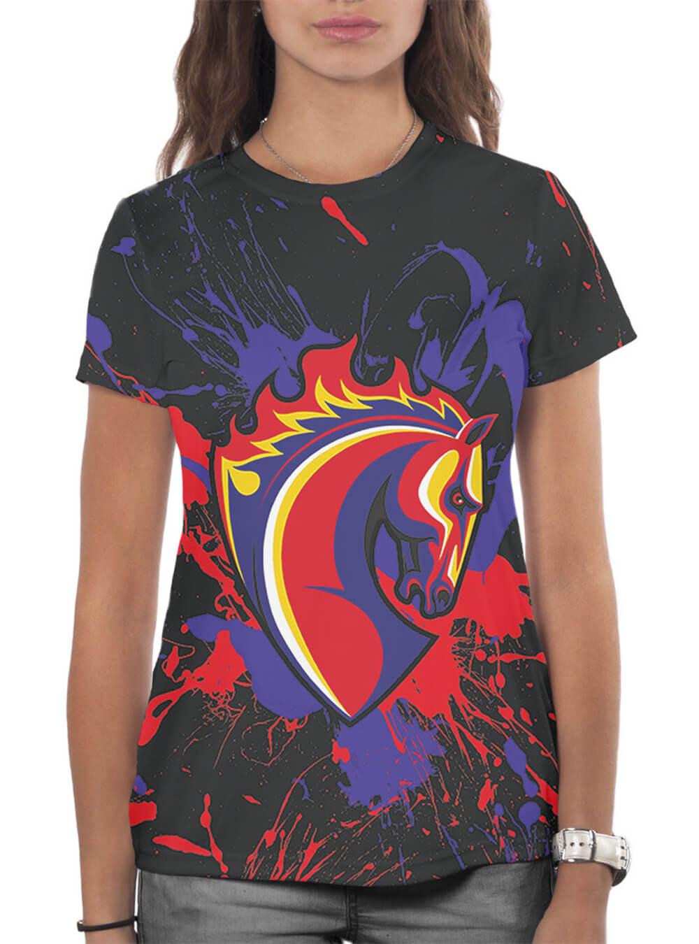 Футболка женская Брызги, конь (XXL)Одежда на заказ<br>Футболка женская Брызги, конь<br>