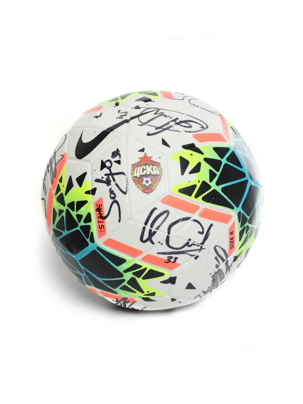 Мяч футбольный Nike STRK (FA19) с эмблемой ПФК ЦСКА с автографами, размер 5 фото