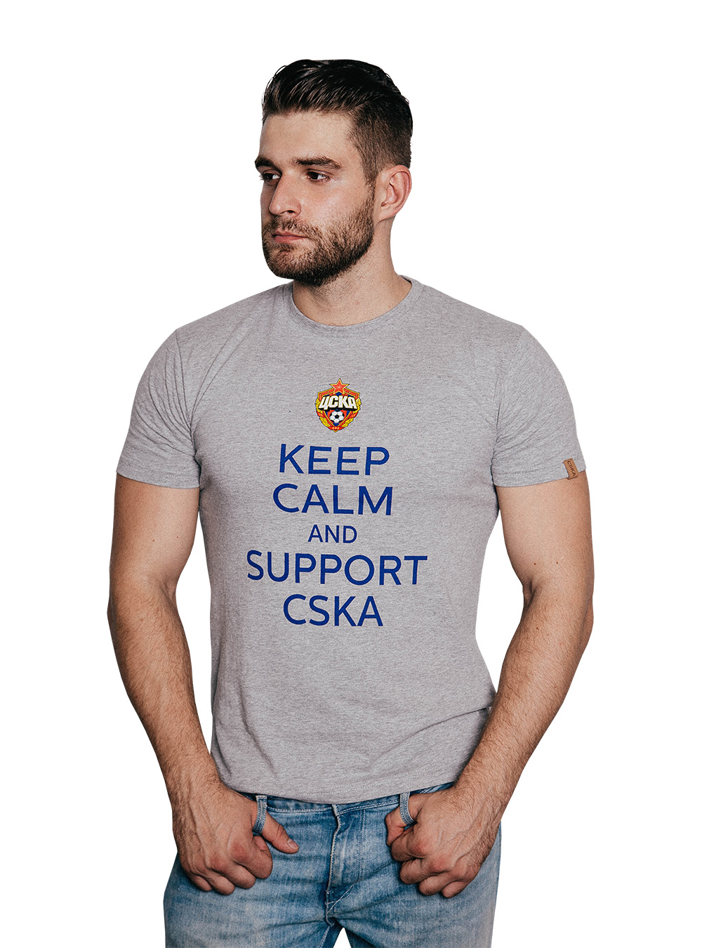 Футболка Keep Calm and Support CSKA, цвет серый (XXXL)Футболки мужские<br>Футболка Keep Calm and Support CSKA, цвет серый<br>