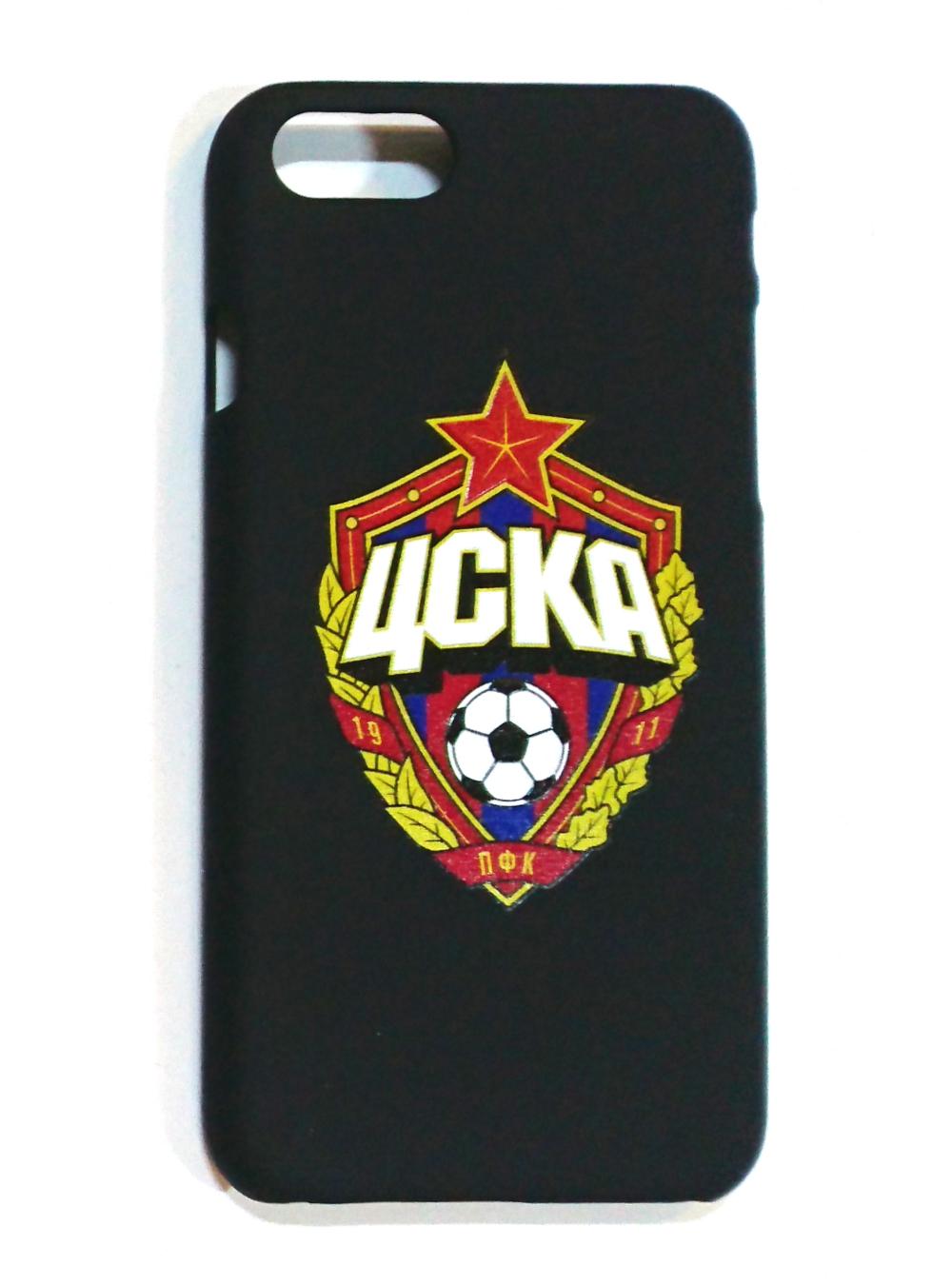 Клип-кейс для iPhone 8 с объемной эмблемой ПФК ЦСКА, цвет чёрный