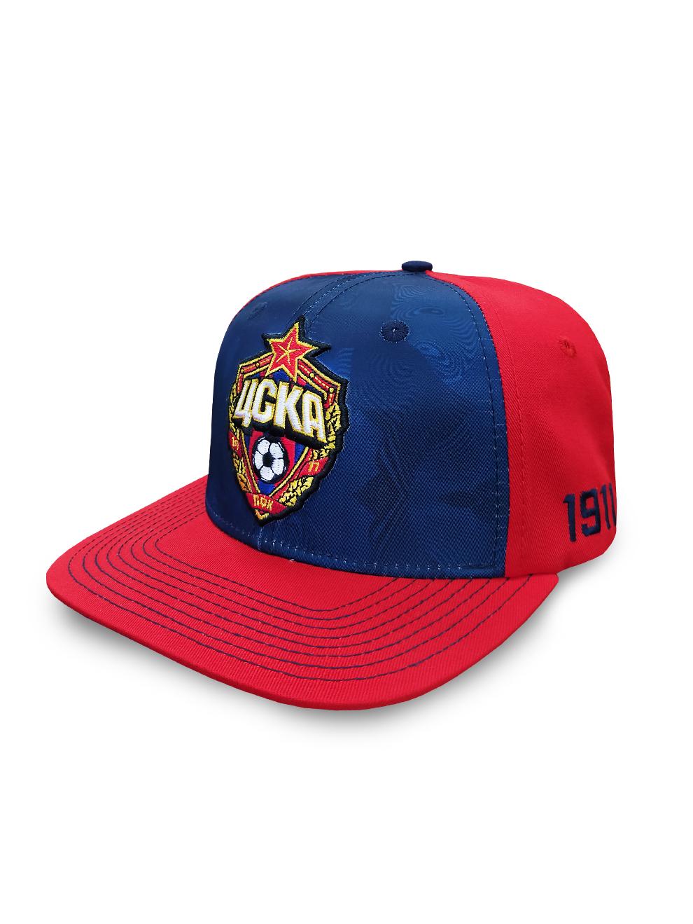 Бейсболка с эмблемой ПФК ЦСКА, прямой козырёк, цвет сине-красный