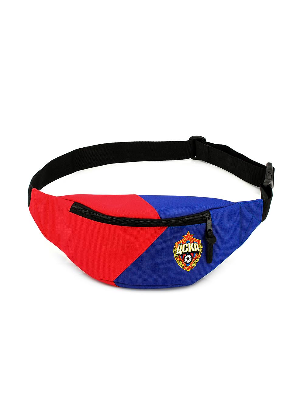 Сумка на пояс удлиненная красно-синяя с эмблемой ПФК ЦСКА фото