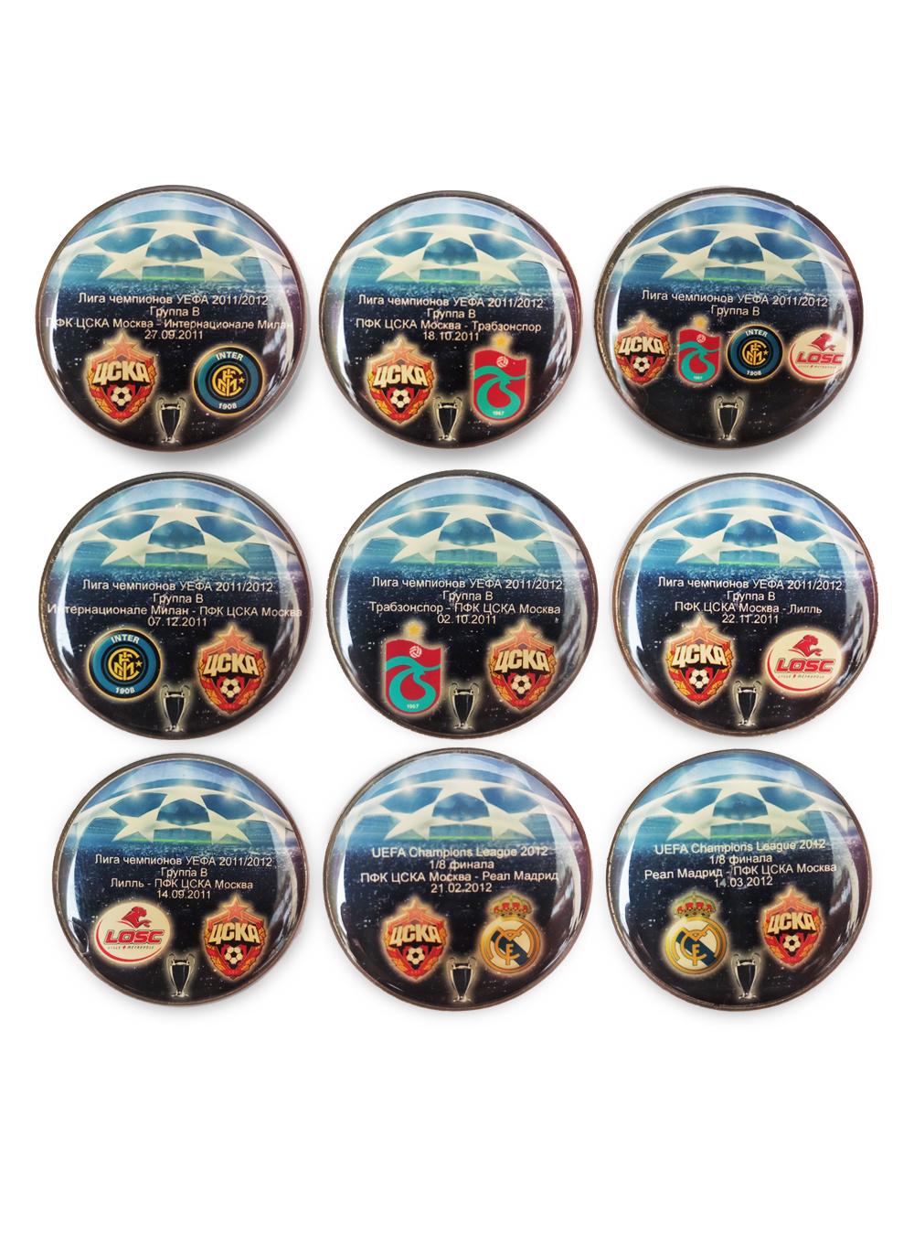 Набор коллекционных значков ЛЧ 2011-2012 (9 шт) фото