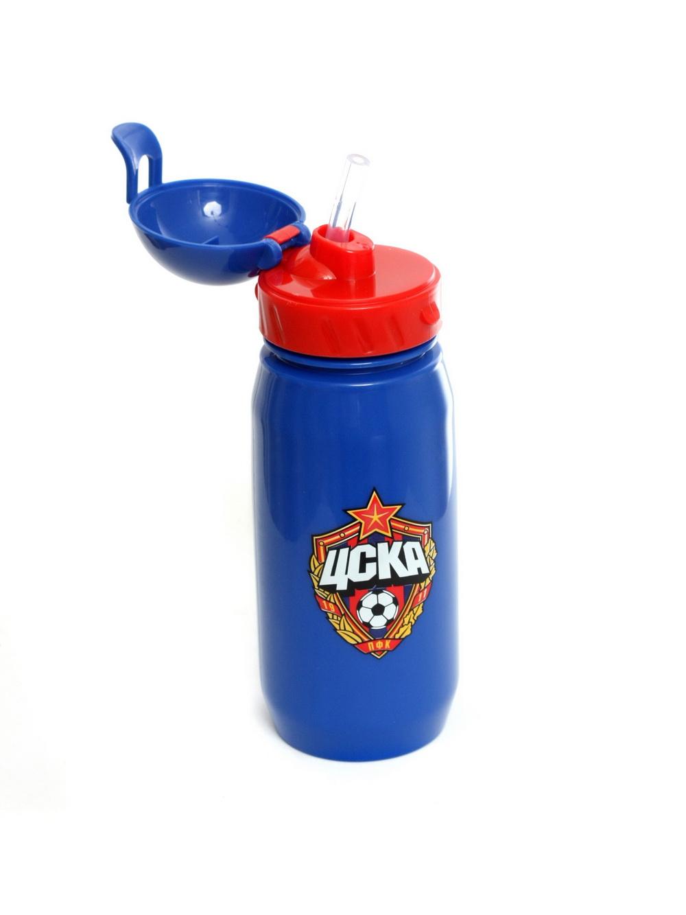 Бутылка для воды с трубочкой 400 мл, цвет синий фото