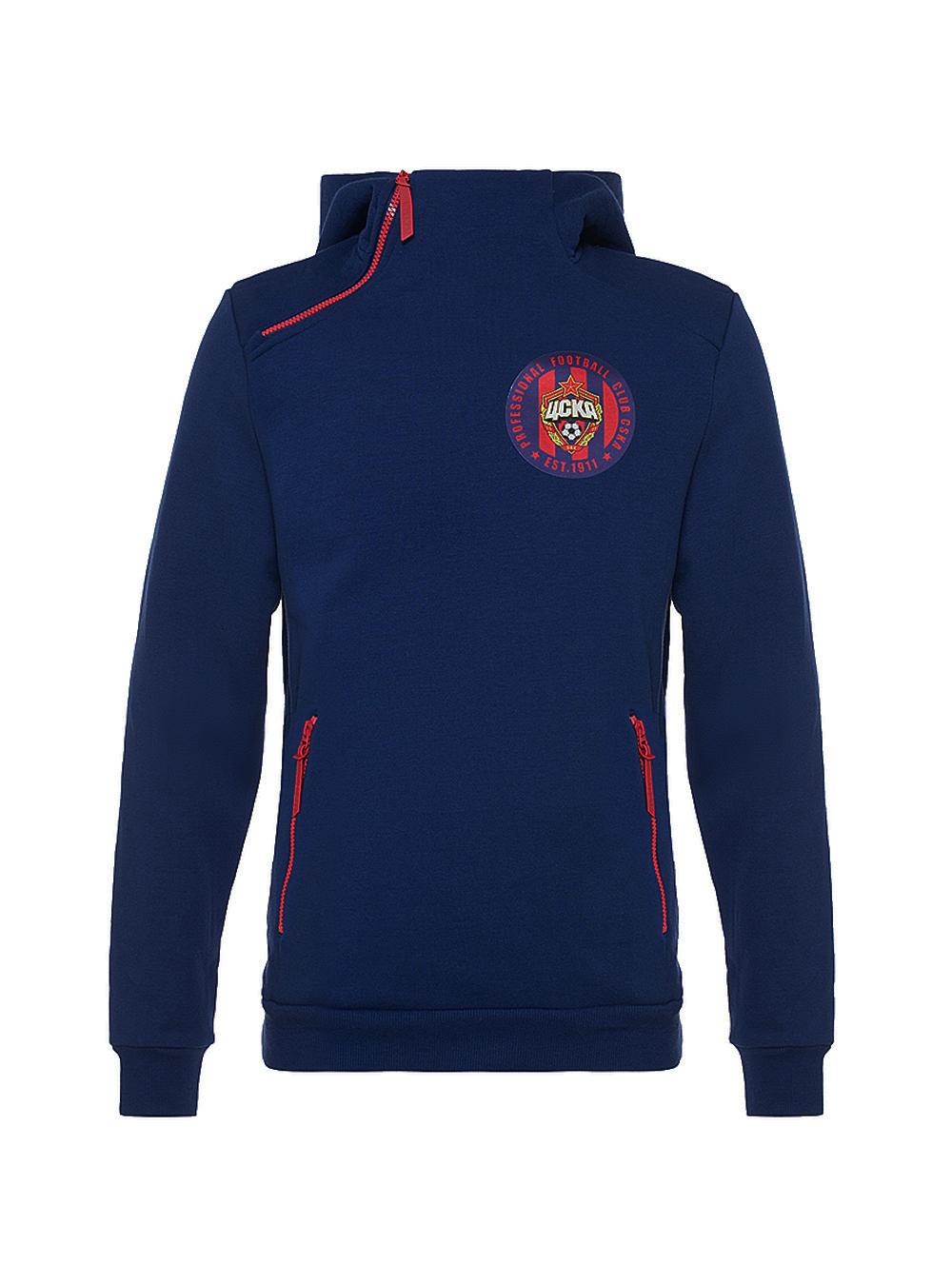 Толстовка на молнии с капюшоном PFC CSKA est 1911, цвет синий (S) фото