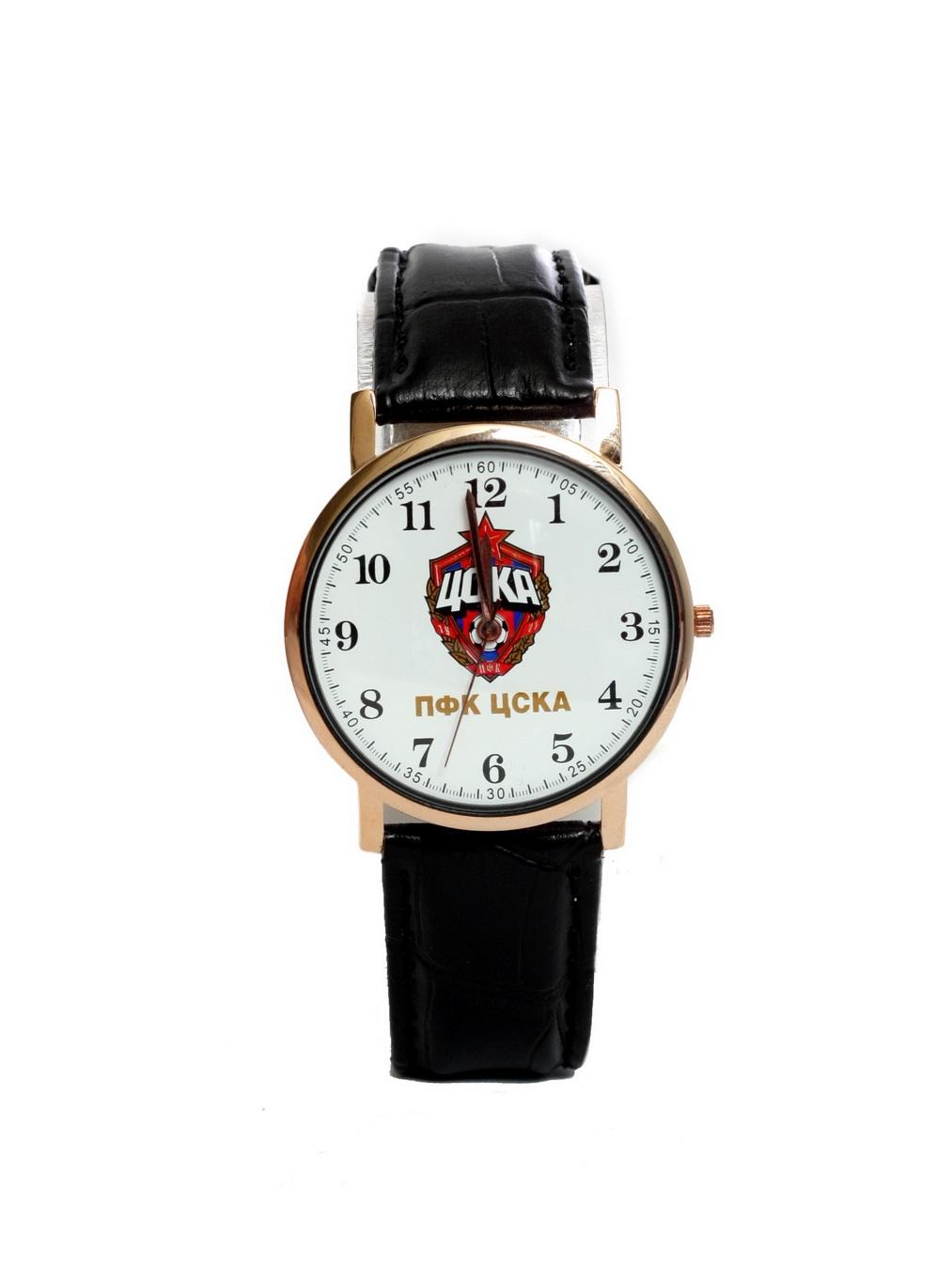 Часы наручные 38мм с эмблемой ПФК ЦСКА, цвет белый. ЧЗ