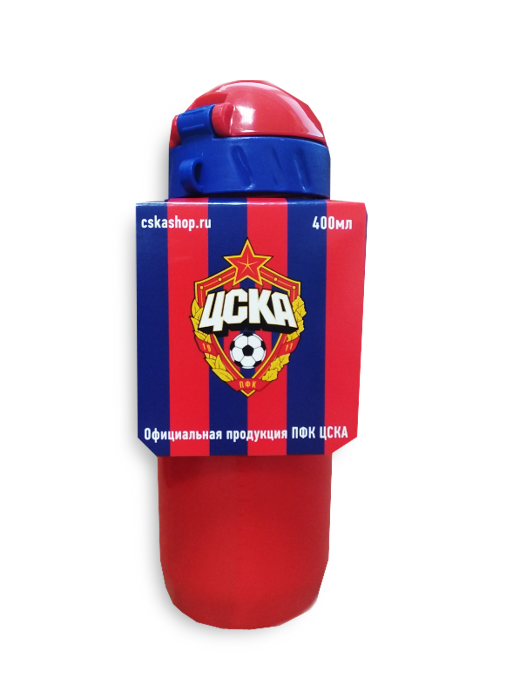 Бутылка для воды с трубочкой 400 мл,  цвет красный