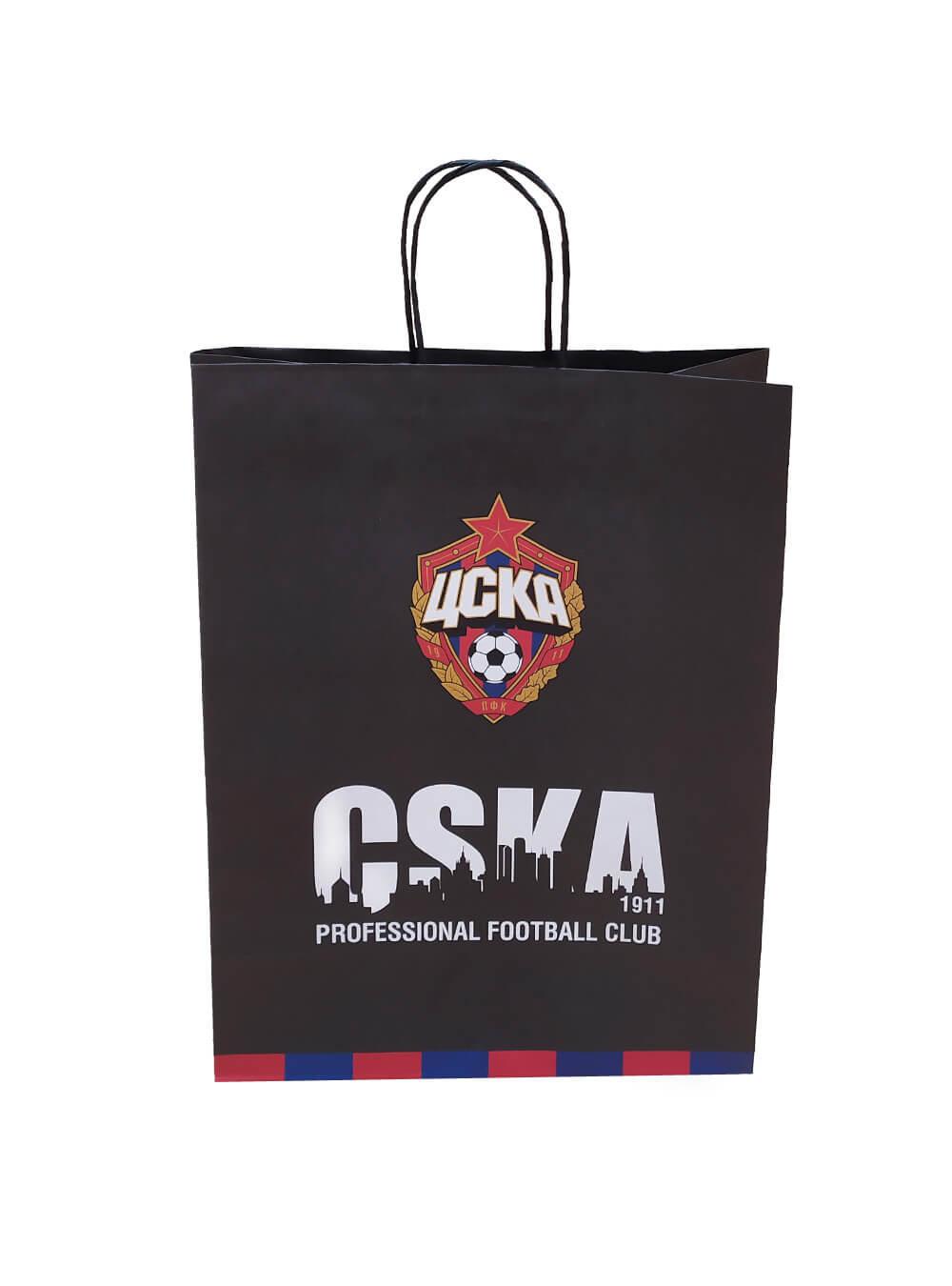 Пакет бумажный подарочный PFC CSKA (42х32х15 см) фото
