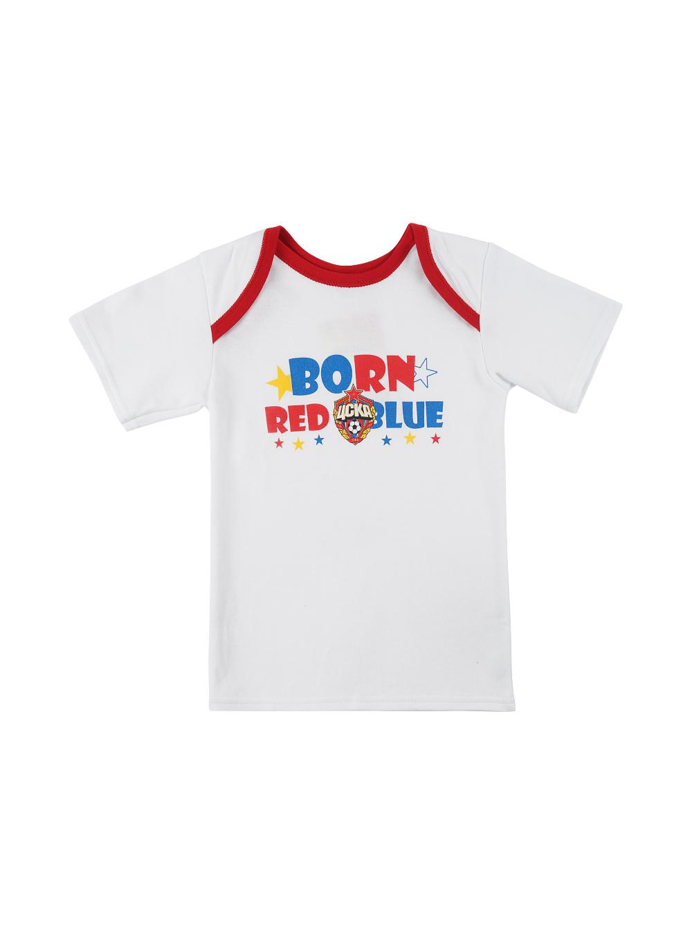 Футболка с коротким рукавом BORN RED BLUE, цвет белый (30(98-104))Для самых маленьких<br>Футболка с коротким рукавом BORN RED BLUE, цвет белый<br>