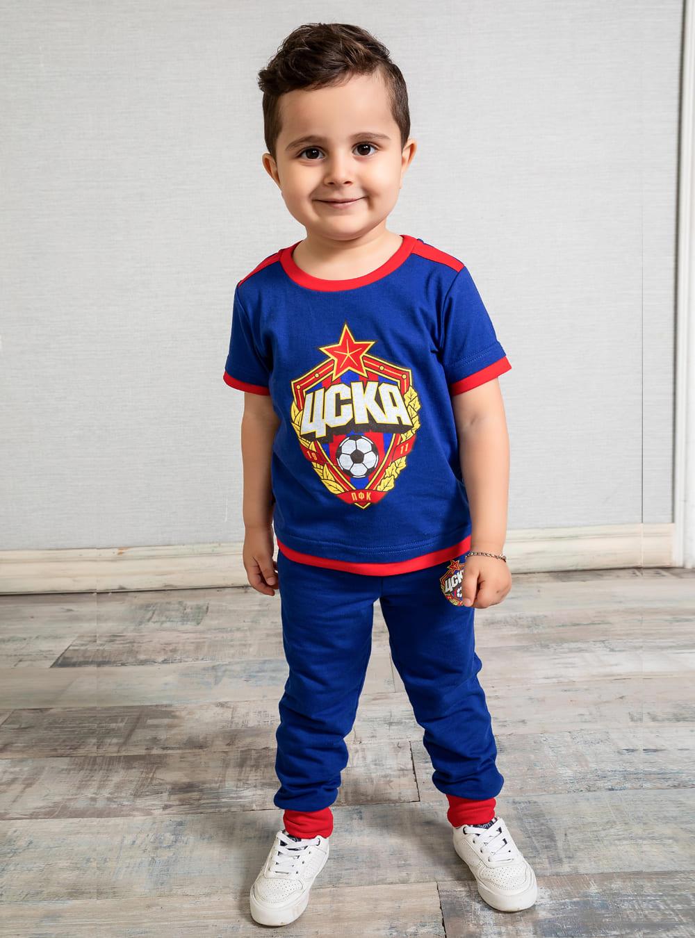 Футболка детская ЭМБЛЕМА, цвет синий (128) фото