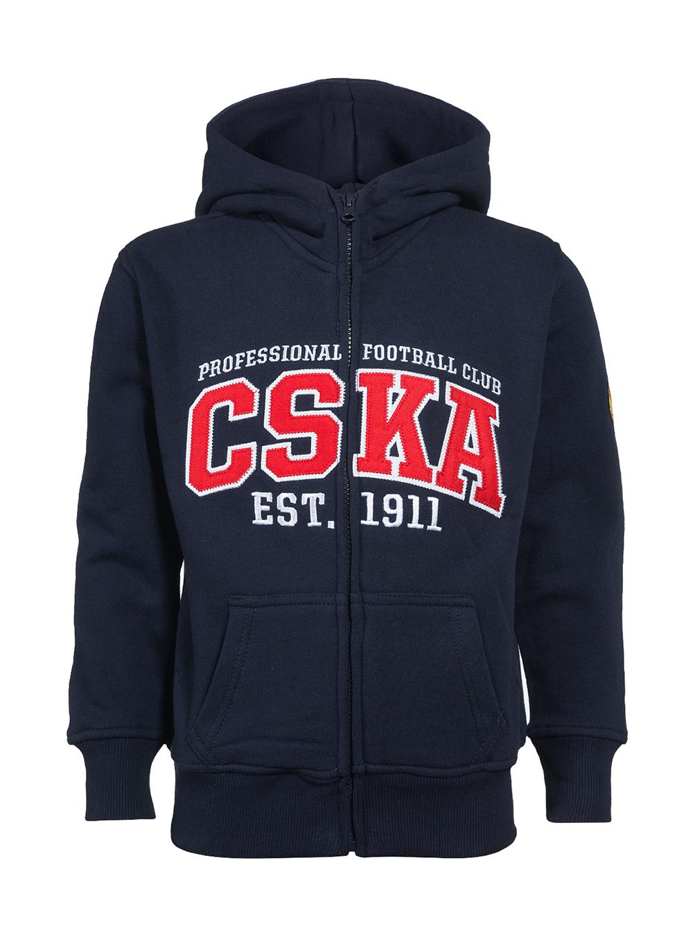 Толстовка детская на молнии с капюшоном CSKA, цвет синий (122/128)Одежда<br>Толстовка детская на молнии с капюшоном CSKA, цвет синий<br>