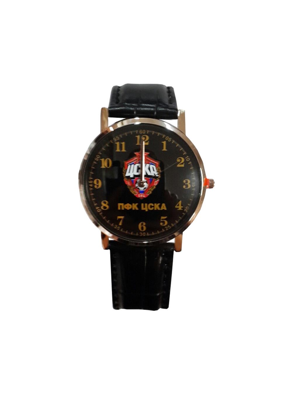 Часы наручные 38мм с эмблемой ПФК ЦСКА, цвет черный. ЧЗ