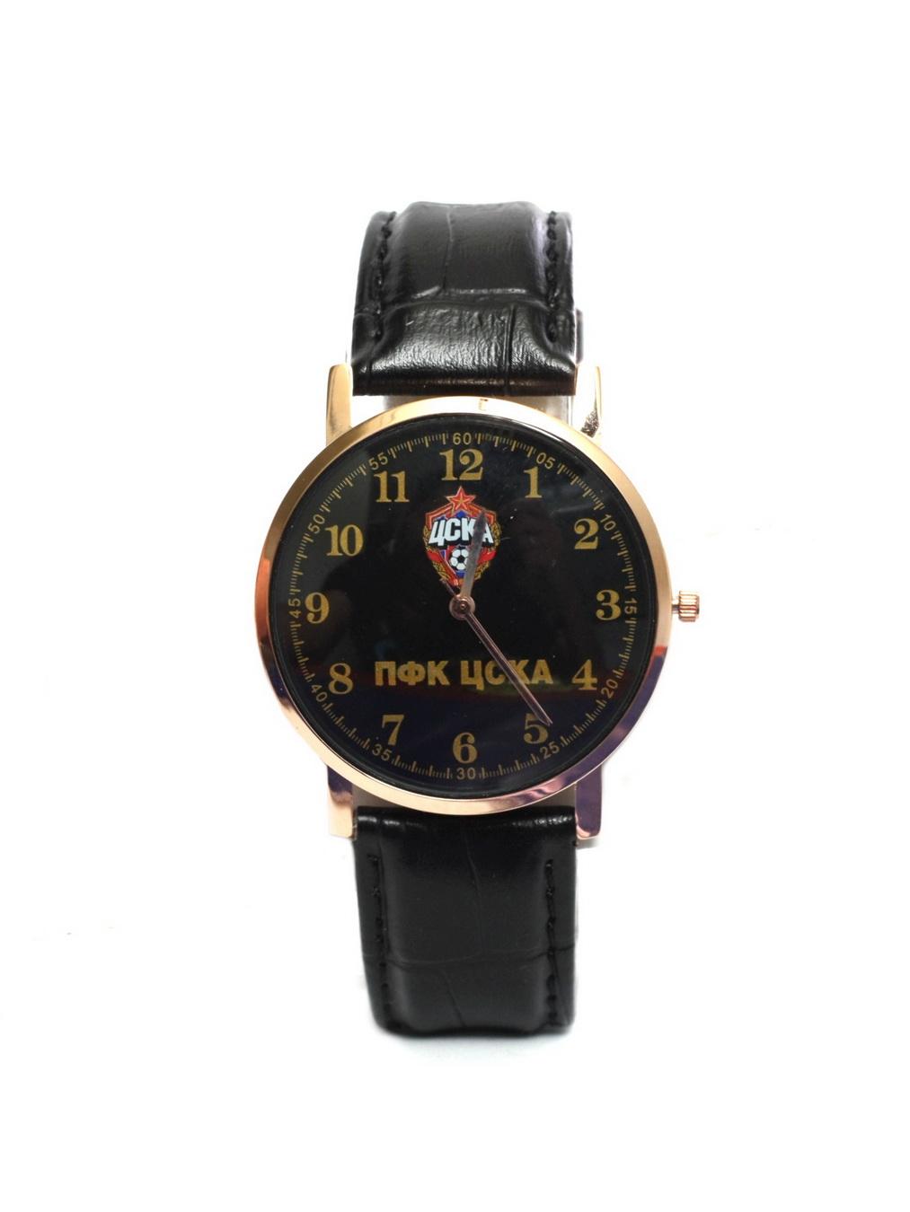 Часы наручные 38мм с маленькой эмблемой ПФК ЦСКА, цвет черный. ЧЗ