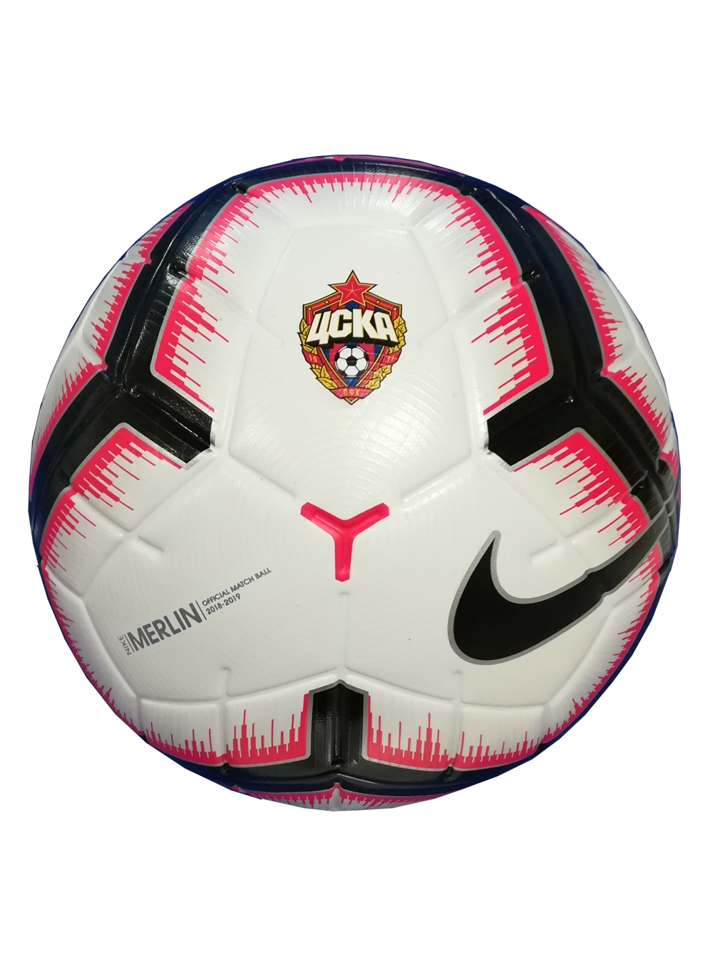 Мяч футбольный Nike РПЛ Merlin белый/красный/чёрный с эмблемой ПФК ЦСКА