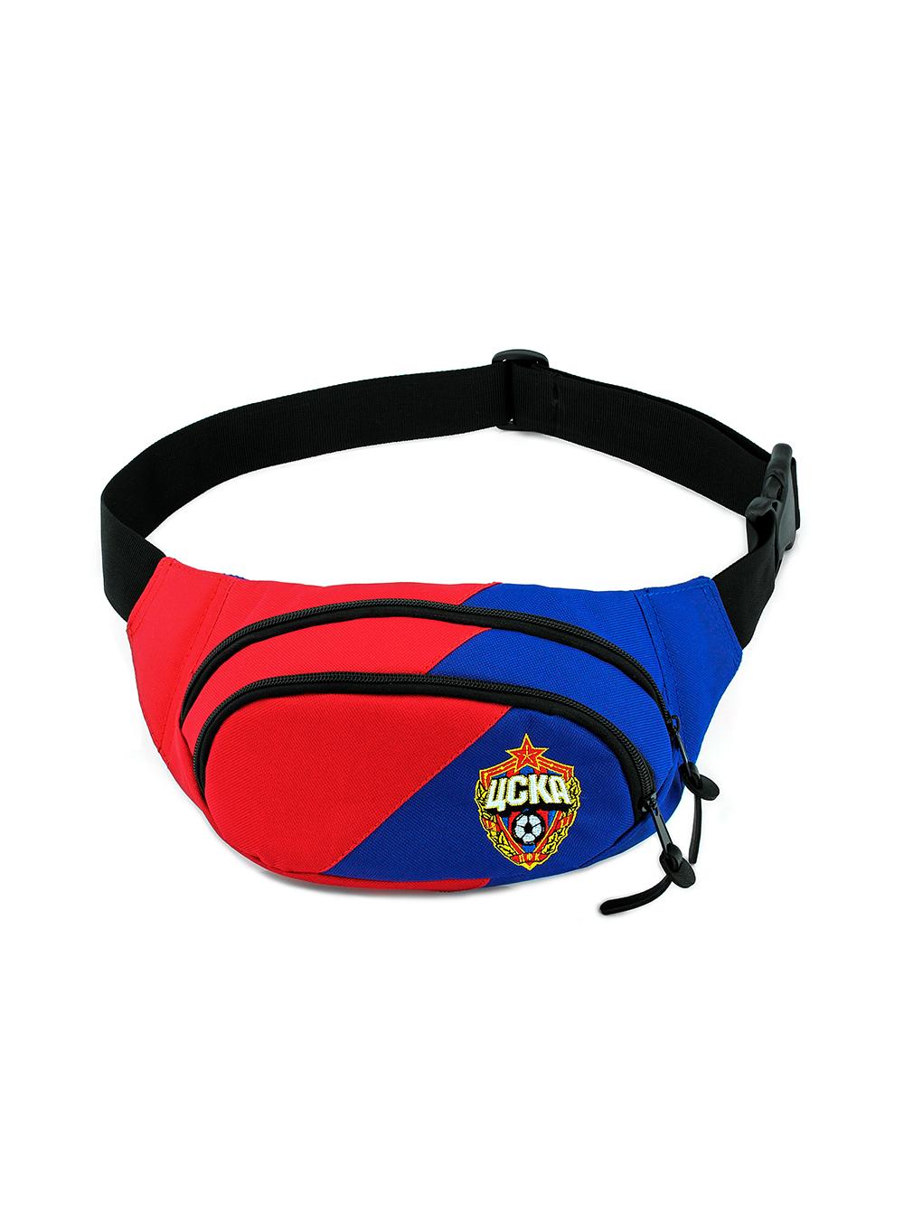 Сумка на пояс красно-синяя с эмблемой ПФК ЦСКА фото