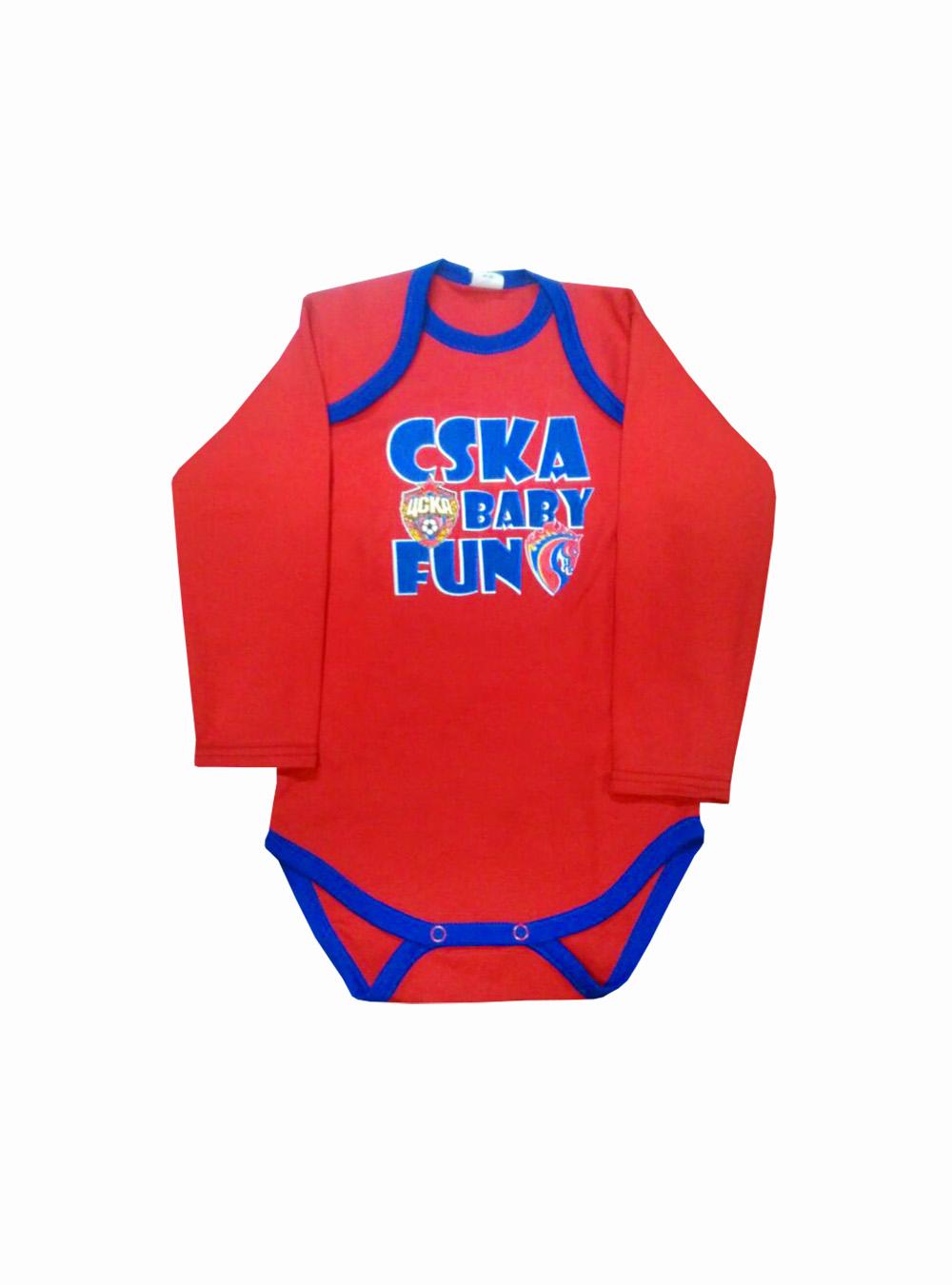 Боди с длинным рукавом CSKA BABY FUN, цвет красный (22(68-74))Для самых маленьких<br>Боди с длинным рукавом CSKA BABY FUN, цвет красный<br>