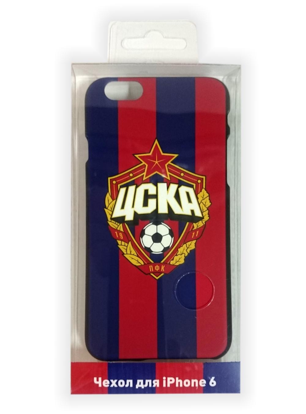 Клип-кейс для iPhone 6/6S с объемной эмблемой ПФК ЦСКА, цвет красно-синий