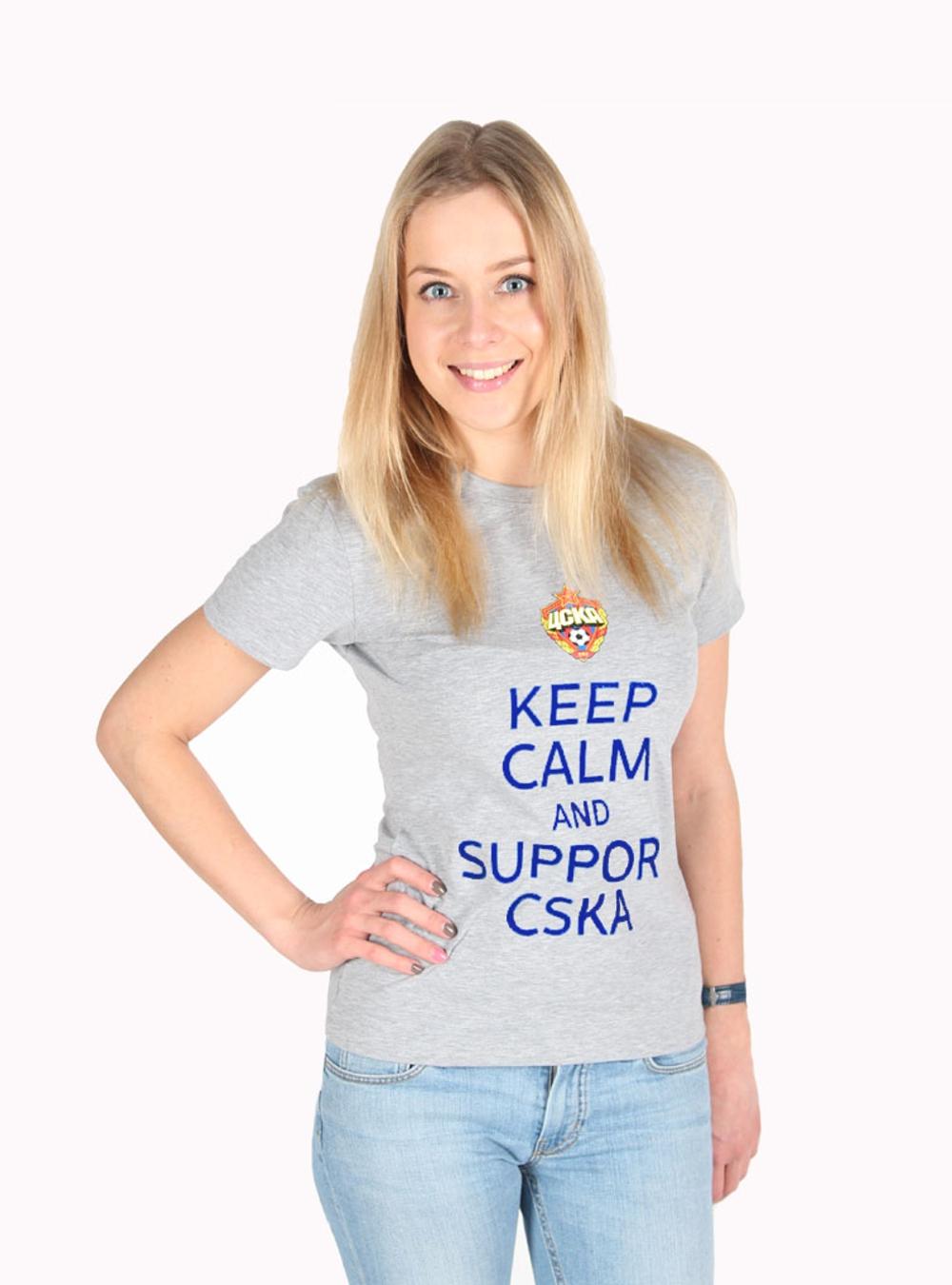 Футболка женская Keep Calm and Support CSKA , цвет серый (XL)Футболки женские<br>Футболка женская Keep Calm and Support CSKA , цвет серый<br>