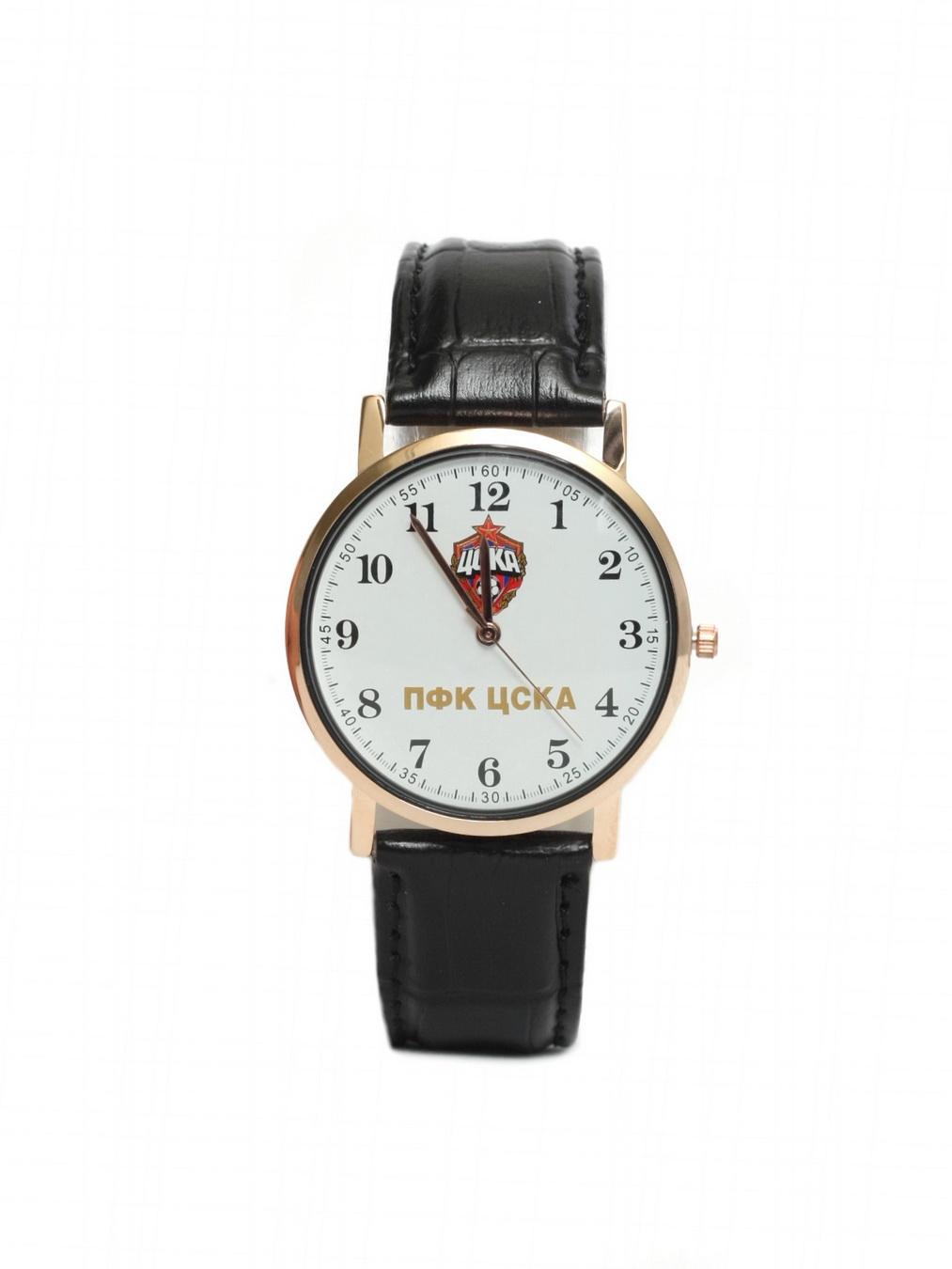 Часы наручные 38мм с маленькой эмблемой ПФК ЦСКА, цвет белый. ЧЗ