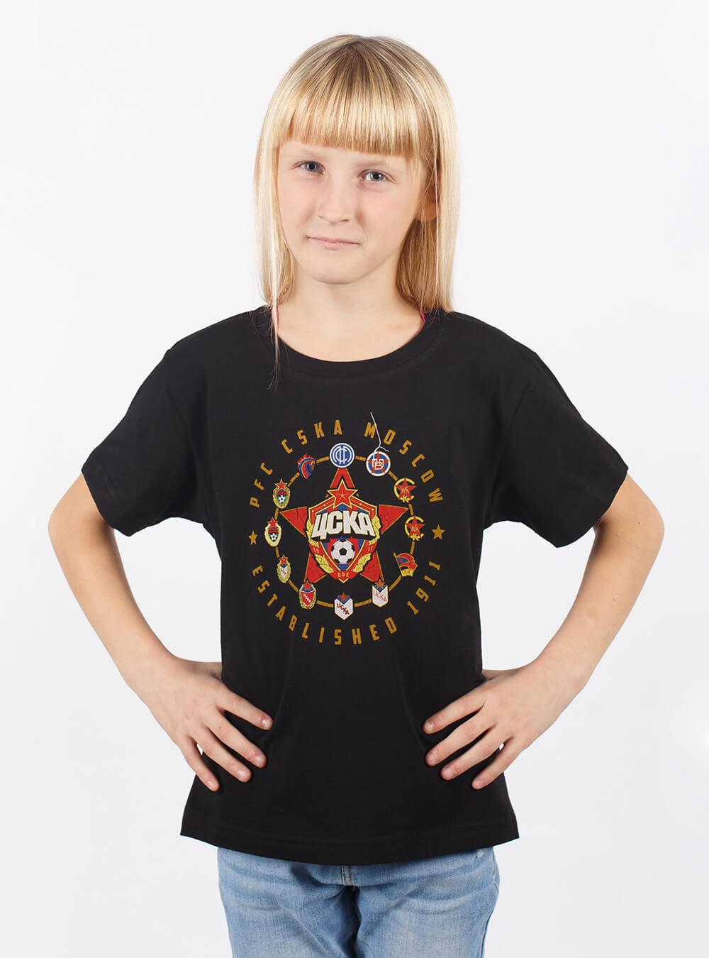 Футболка детская Все эмблемы, цвет черный (1646012) (134)Одежда<br>Футболка детская Все эмблемы, цвет черный (1646012)<br>