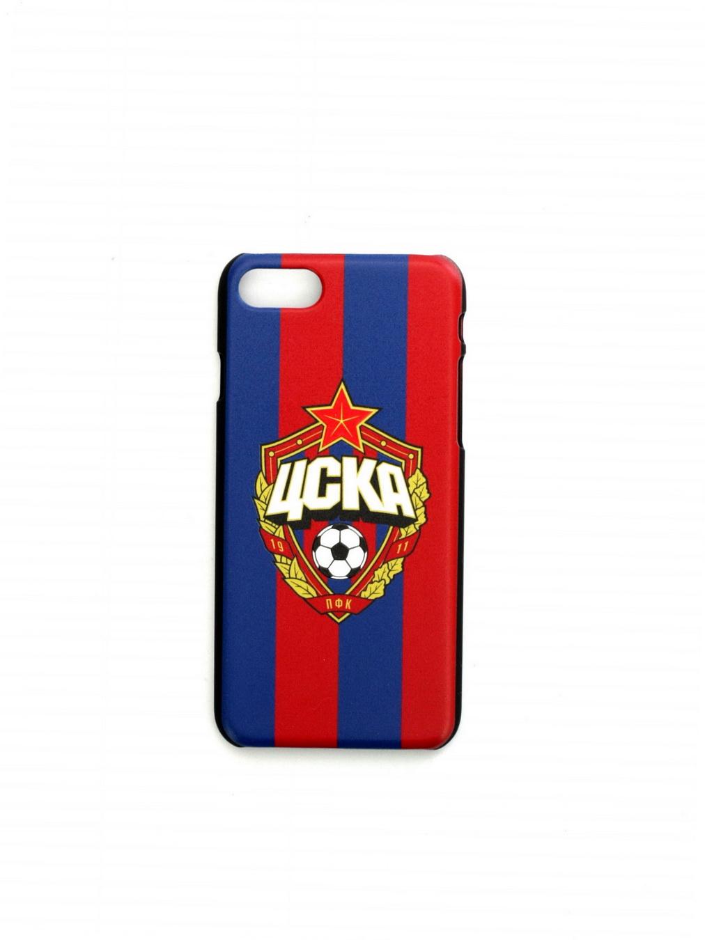 Клип-кейс для iPhone 8 с объемной эмблемой ПФК ЦСКА, цвет красно-синий