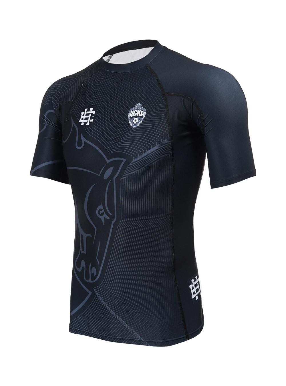 Рашгард мужской с коротким рукавом Талисман черный (L)Одежда для спорта<br>Рашгард мужской с коротким рукавом Талисман черный<br>